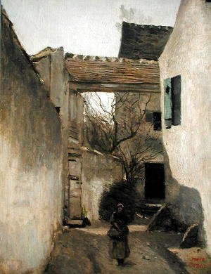 Jean-Baptiste-Camille Corot - Ecouen, Corner of the Village, c.1870