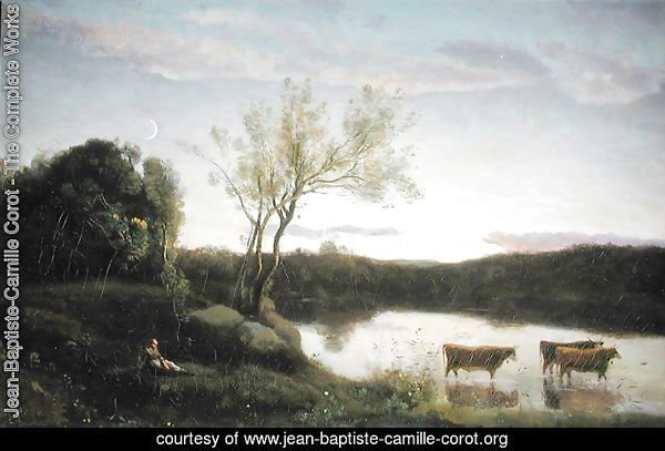 A Pond with three Cows and a Crescent Moon, c.1850