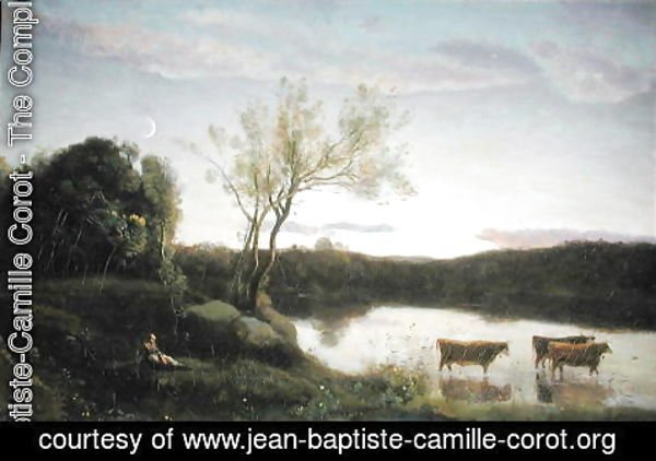 Jean-Baptiste-Camille Corot - A Pond with three Cows and a Crescent Moon, c.1850