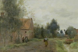 Jean-Baptiste-Camille Corot - Sin near Douai, Village Street in the Morning, Grey Weather, 1872
