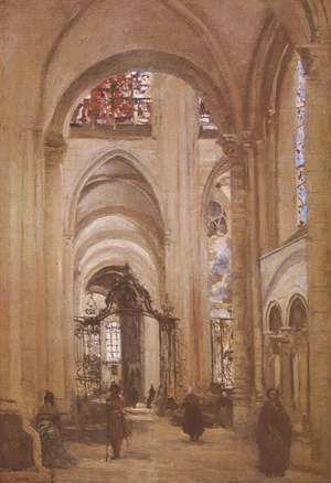 Jean-Baptiste-Camille Corot - Interior of the Cathedral of St. Etienne, Sens, c.1874