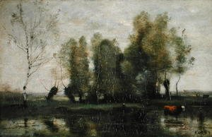 Jean-Baptiste-Camille Corot - Trees in a Marshy Landscape, c.1855-60