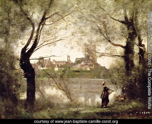 View of the Town and Cathedral of Mantes Through the Trees, Evening