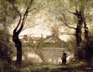 Jean-Baptiste-Camille Corot - View of the Town and Cathedral of Mantes Through the Trees, Evening