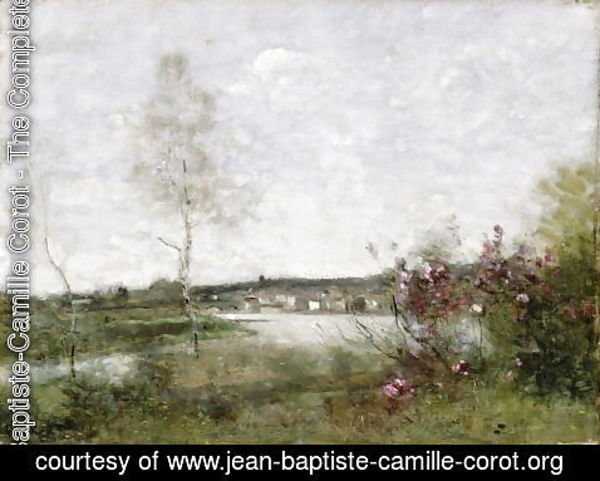 Jean-Baptiste-Camille Corot - Distant View of Corbeil, Morning, c.1870