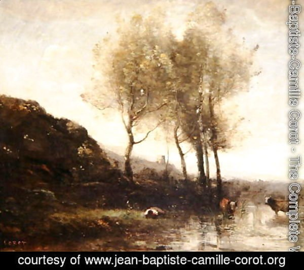 Jean-Baptiste-Camille Corot - Cowherd Resting at the Foot of Cool Hills, c.1855-65