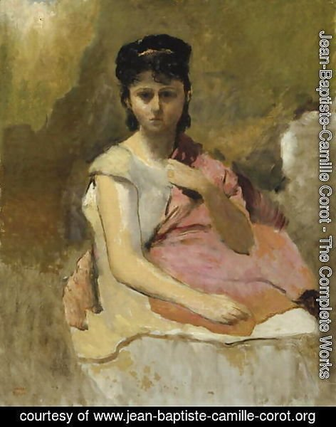 Jean-Baptiste-Camille Corot - Woman with a Pink Shawl, c.1868