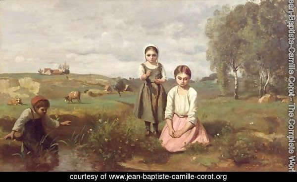 Children beside a brook in the countryside, Lormes