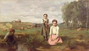 Jean-Baptiste-Camille Corot - Children beside a brook in the countryside, Lormes