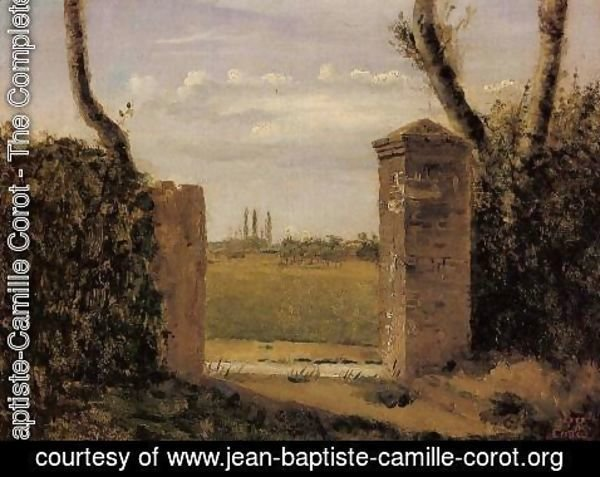 Jean-Baptiste-Camille Corot - Boid-Guillaumi, near Rouen - A Gate Flanked by Two Posts