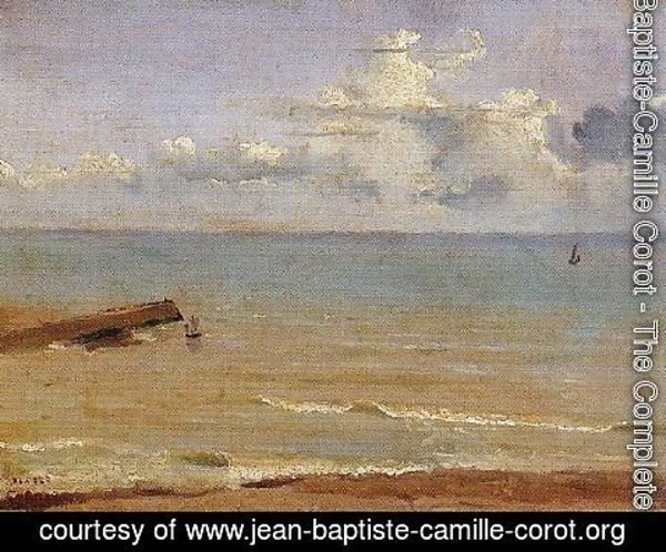 Jean-Baptiste-Camille Corot - Dieppe - End of a Pier and the Sea