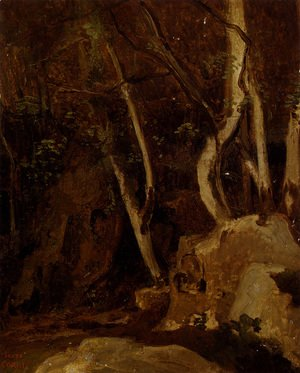 Jean-Baptiste-Camille Corot - Civita Castellana, Rocks with Trees