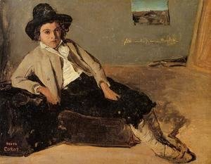 Jean-Baptiste-Camille Corot - Italian Youth Sitting in Corot's Room in Room