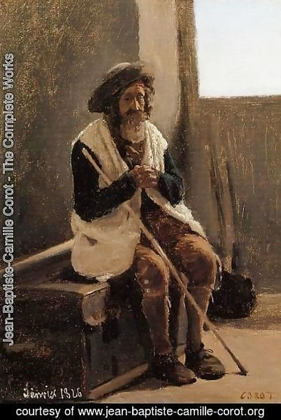 Jean-Baptiste-Camille Corot - Old Man Seated on Corot's Trunk
