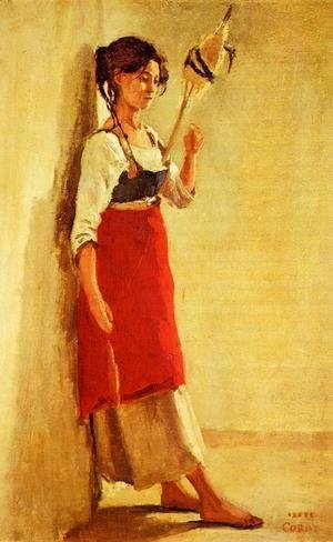 Jean-Baptiste-Camille Corot - Young Italian Woman from Papigno with Her Spindle