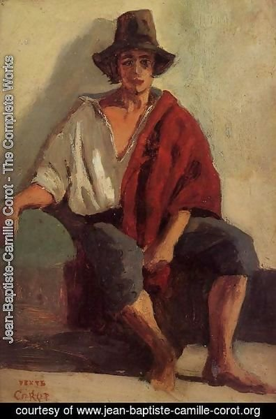 Jean-Baptiste-Camille Corot - A Seated Italian from Paeigno Facing Front