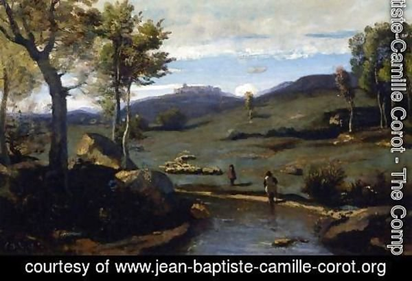 Jean-Baptiste-Camille Corot - Roman Countryside - Rocky Valley with a Herd of Pigs