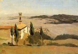 Jean-Baptiste-Camille Corot - Volterra - Church and Bell Tower