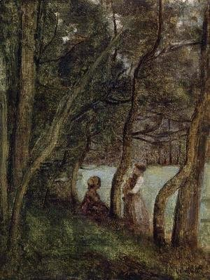 Jean-Baptiste-Camille Corot - Les Alinges, Haute Savoie, Figures under the Trees