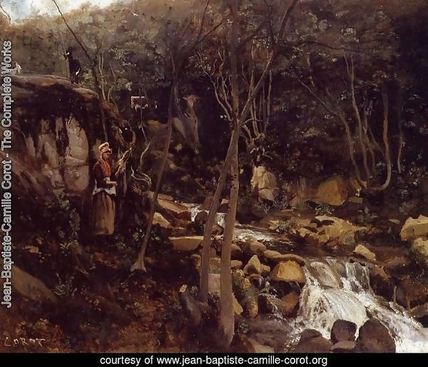Lormes - A Waterfall with a Standing Peasant, Spinning Wool