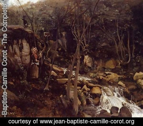 Jean-Baptiste-Camille Corot - Lormes - A Waterfall with a Standing Peasant, Spinning Wool