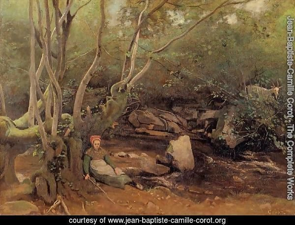 Lormes - Shepherdess Sitting under Trees beside a Stream