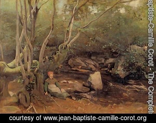 Jean-Baptiste-Camille Corot - Lormes - Shepherdess Sitting under Trees beside a Stream