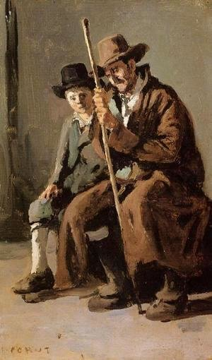 Jean-Baptiste-Camille Corot - Two Italians, an Old Man and a Young Boy