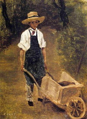 Jean-Baptiste-Camille Corot - Octave Chamouillet Pushing a Wheelbarrow in a Garden