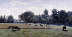 Jean-Baptiste-Camille Corot - Marcoussis - Cows Grazing