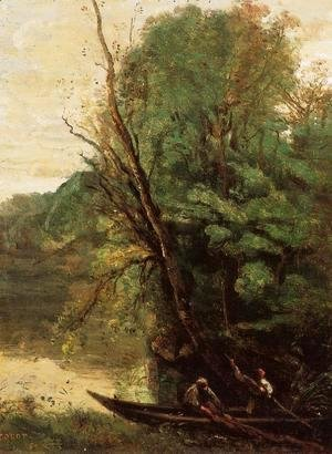 Jean-Baptiste-Camille Corot - Fishing with Nets, Evening