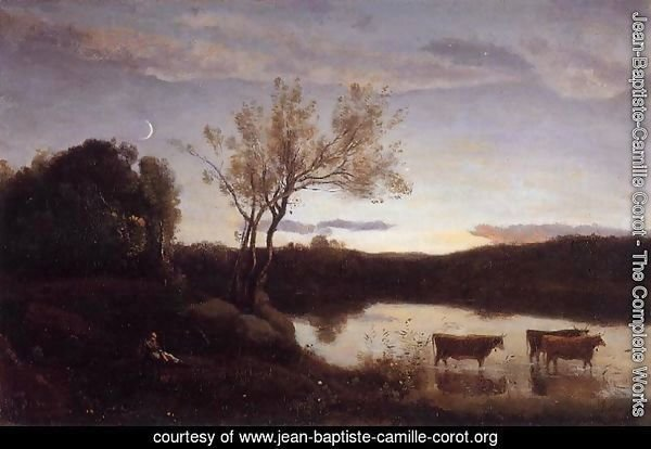 Pond with Three Cows and a Crescent Moon