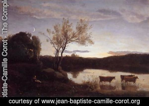 Jean-Baptiste-Camille Corot - Pond with Three Cows and a Crescent Moon