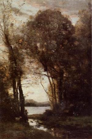 Jean-Baptiste-Camille Corot - Goatherd Standing, Playing the Flute under the Trees