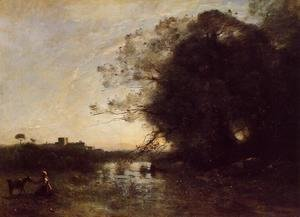 Jean-Baptiste-Camille Corot - The Swamp by the Large Tree with a Goatherd