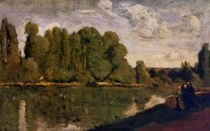 Jean-Baptiste-Camille Corot - The Rhone - Three Women on the Riverbank Seated on a Tree Trunk