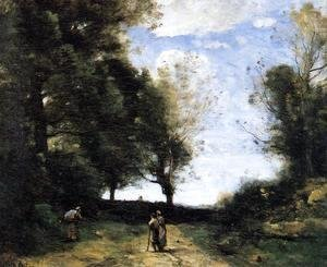 Jean-Baptiste-Camille Corot - Landscape with Three Figures