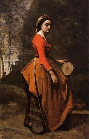 Jean-Baptiste-Camille Corot - Gypsy with a Basque Tamborine