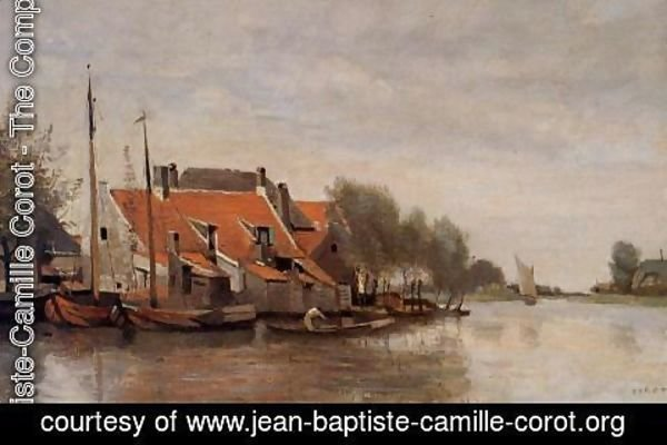 Jean-Baptiste-Camille Corot - Near Rotterdam, Small Houses on the Banks of a Canal