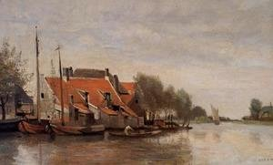 Near Rotterdam, Small Houses on the Banks of a Canal