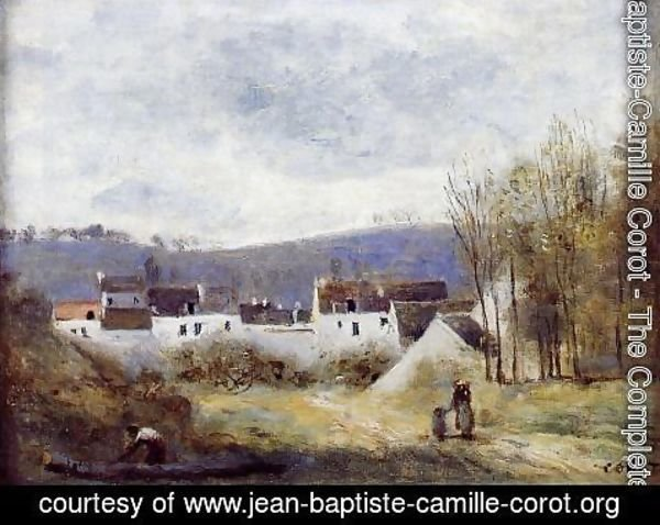 Jean-Baptiste-Camille Corot - Village at the Foot of a Hill, Ile-de-France