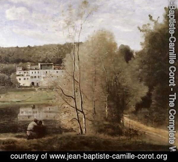 Jean-Baptiste-Camille Corot - The Pond and the Cabassud Houses at Ville-d'Avray