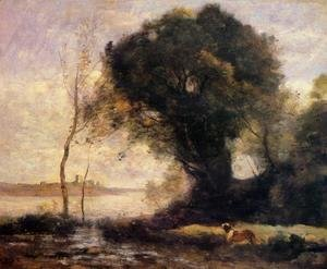 Jean-Baptiste-Camille Corot - Pond with Dog