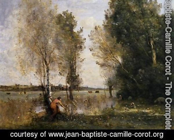 Jean-Baptiste-Camille Corot - Woman Picking Flowers in a Pasture