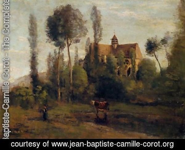 Jean-Baptiste-Camille Corot - The Church at Essommes, near the Chateau Thierry
