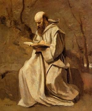 Jean-Baptiste-Camille Corot - Monk in White, Seated, Reading