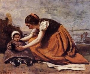Jean-Baptiste-Camille Corot - Mother and Child on the Beach