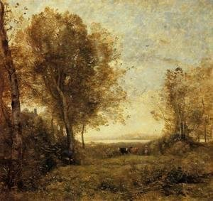 Jean-Baptiste-Camille Corot - Morning - Woman Hearding Cows