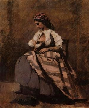 Jean-Baptiste-Camille Corot - Mother Breast Feeding Her Child