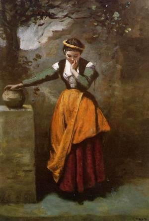Jean-Baptiste-Camille Corot - Daydreaming at the Fountain